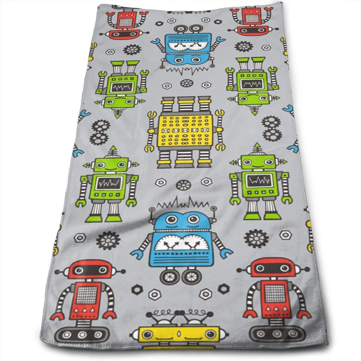 WERERT Eco-Friendly Cute Robots On Gray Microfiber Hand Towels,Super Absorbency,Multipurpose,Quick Drying,Maimum Softness,Machine
