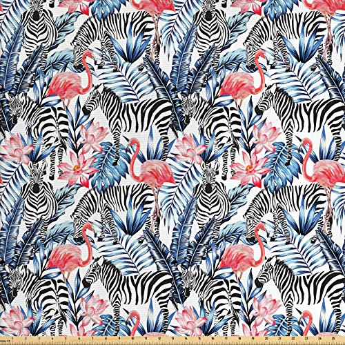 Modern Fabric by the Yard by Ambesonne, Exotic Flamingos with Zebras Palm Leaves Lily Wild Elegance Graphic, Decorative Fabric for Upholstery and Home Accents, Dark Blue Coral Black White