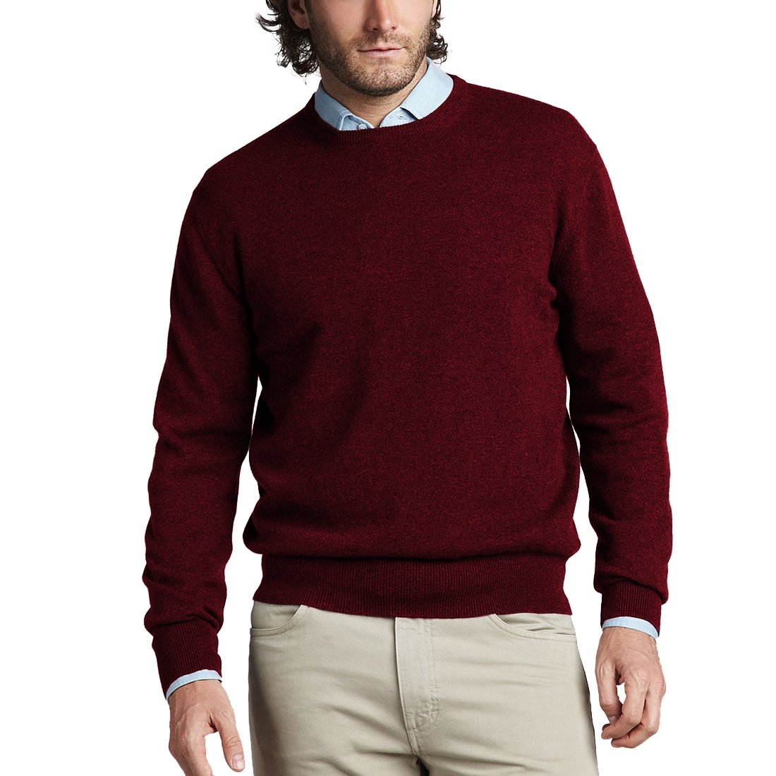 Parisbonbon Men's 100% Cashmere Crew Neck Sweater Color Rosewood Size L by Parisbonbon