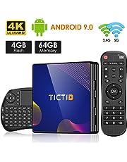 Android TV Box 9.0 TICTID TV Box Android 4G RAM+64G ROM R8 Plus con Wireless Mini Tastiera, RK3318 Quad-Core 64-Bit 10 /100M Ethernet / 2.4G/ 5G WIFI / BT 4.0/ H.265,4K HD Smart TV Box