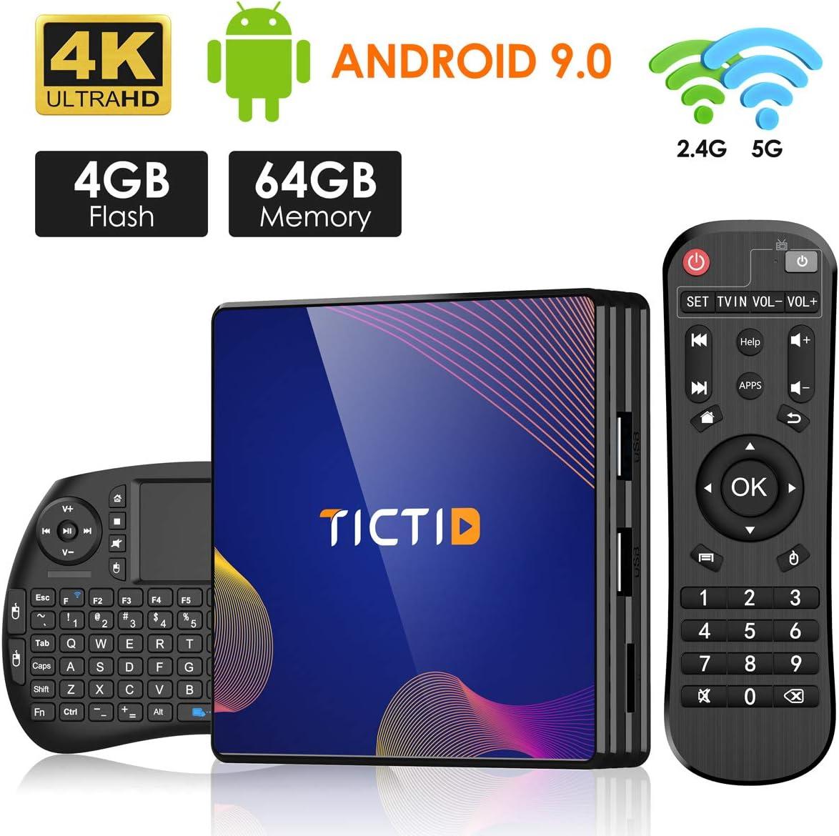 Android 9.0 TV Box【4G+64G】con Mini Teclado inalámbirco con touchpad RK3318 Quad-Core 64bit Cortex-A53, Wi-Fi-Dual 5G/2.4G,BT 4.1, 4K*2K UHD H.265, USB 3.0 Smart TV Box: Amazon.es: Electrónica