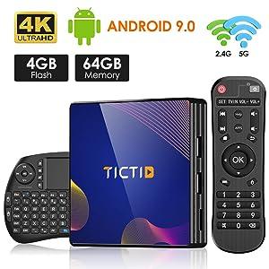 Android 9.0 TV Box【4G+64G】con Mini Teclado inalámbirco con touchpad RK3318 Quad-Core 64bit Wi-Fi-Dual 5G/2.4G,BT 4.1, 4K*2K UHD H.265, USB 3.0 Smart TV Box