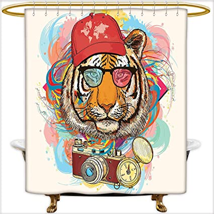 Qinyan Home Decor Shower Curtains Hipster Rapper Style Tiger With Sunglasses Hat And Camera Artist
