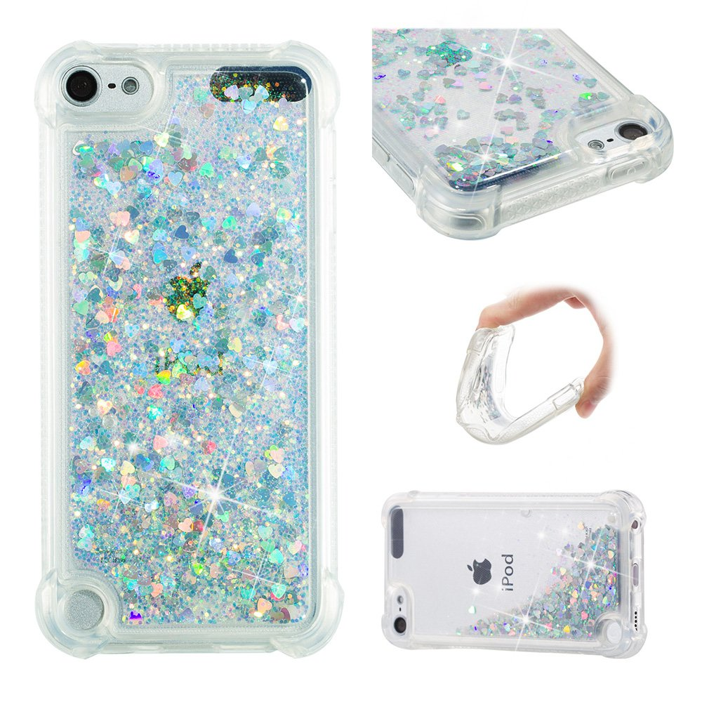 quality design 7e7e2 a07a5 for iPod 6 Cases for Girls,iPod Touch 6th Generation Case,CAIYUNL Glitter  Liquid Clear Cute Bling Sparkly TPU Kids Women Soft Protective Cover Design  ...