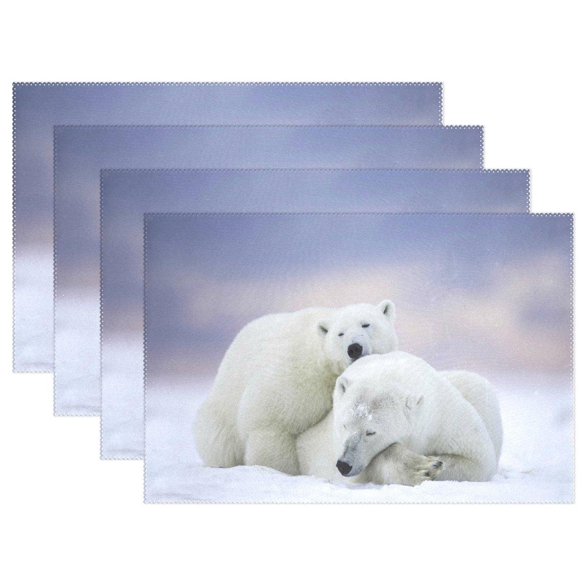 Wozo雪Cute Polar Bear Sleepingプレースマットテーブルマット12