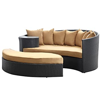 LexMod Taiji Outdoor Wicker Patio Daybed With Ottoman In Espresso With  Mocha Cushions