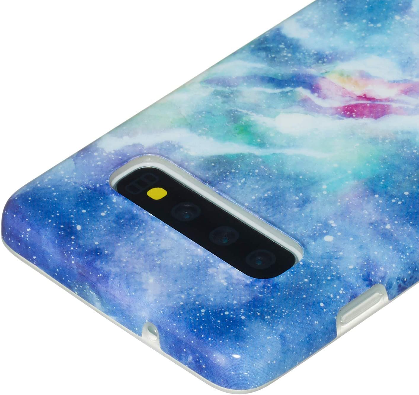 Shinyzone Stylish Black Marble Design Case for Samsung Galaxy S10+,Raised Edge Full Body Drop Resistant Flexible TPU Gel Cover for Samsung Galaxy S10 Plus
