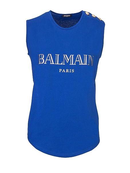 3f9057cf Balmain T-Shirt Donna 148100326IC3215 Cotone Blu: Amazon.it: Abbigliamento
