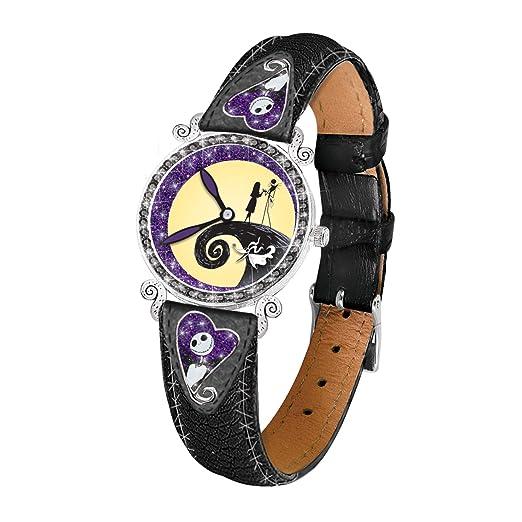 Disney The Nightmare Before Christmas - Reloj de Pulsera para Mujer con Movimiento de Cuarzo, diseño de la película de la Oscuridad, Color Negro y Cero: ...