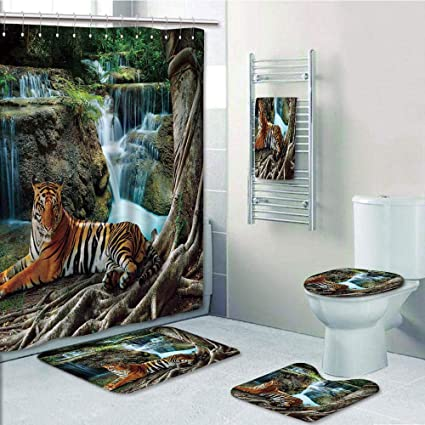Amazon com: Bathroom 5 Piece Set Shower Curtain 3D Print Customized