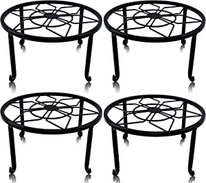 yosager 4 Pack Metal Plant Stands for Flower Pot, Heavy Duty Black Iron Potted Stand Holder, Indoor Outdoor Rustproof Metal Planter Container Round Supports Display Rack for Home & Garden Decor