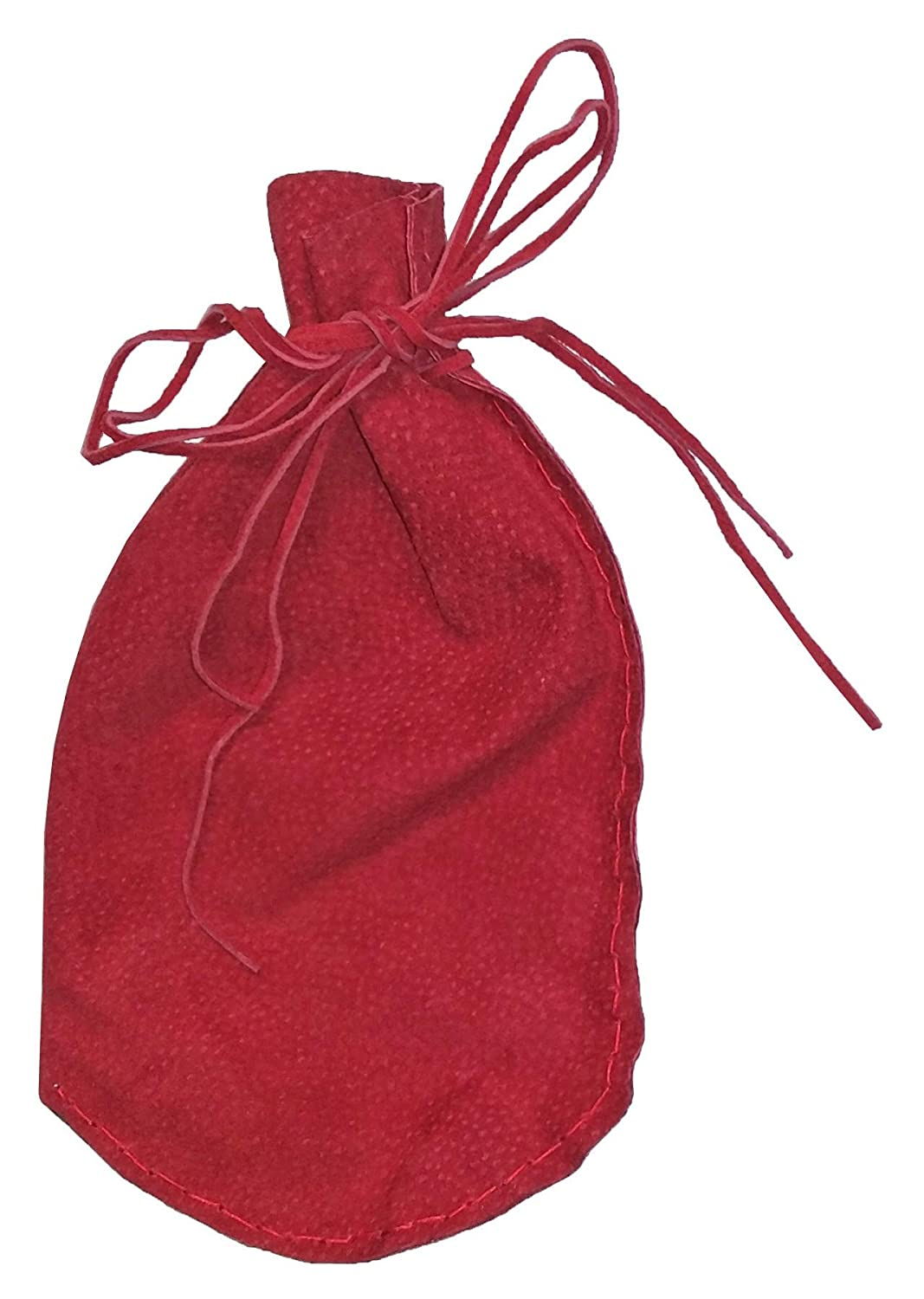 Pouch Drawstring Pitted Suede 5 X 7.5 Inches, Red
