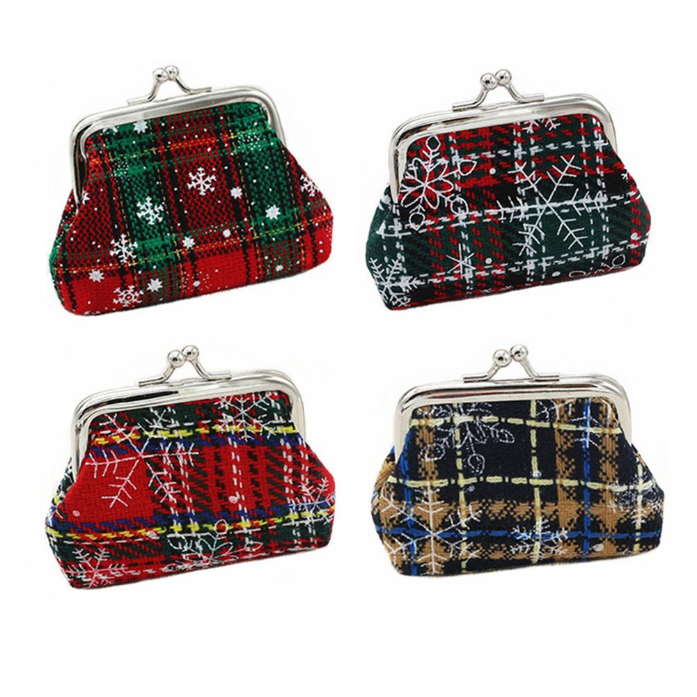4 Pieces Women Girl Snowflake Grid Coin Bag Money Pounch Case Mini Hand Purse Wallet RedColory