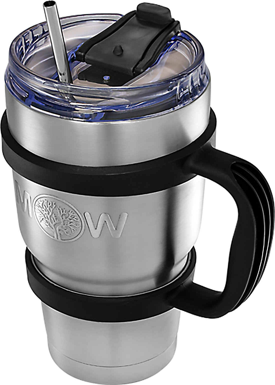 Insulated Stainless Steel Tumbler - 30 oz Cup Set with Handle and Spill Proof Lid Complete Bundle with Stainless Steel Reusable Straw - Large Coffee Travel Mug Works Great for Ice Drink/Hot Beverage