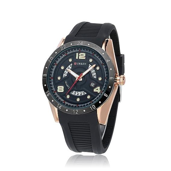 HWCOO 8142 Reloj de Calendario Reloj para Hombre de Goma Big Dial Aliexpress (Color : 1): Amazon.es: Relojes