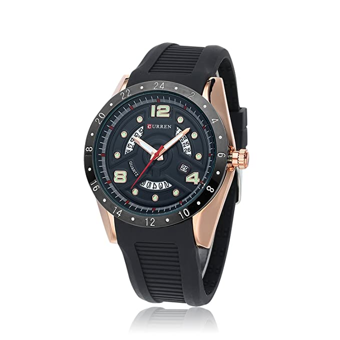 HWCOO 8142 Reloj de Calendario Reloj para Hombre de Goma Big Dial Aliexpress (Color : 1): Amazon.es: Relojes