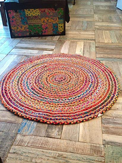 Chopra International 60 cm Round Braided Jute doormats/Area Rug, Multicolor (Pack of 2)