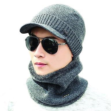 THENICE Bonnet Casquette d hiver Homme Chaud Écharpe avec Doublure Polaire  (Classique Gris) 2208e8846af