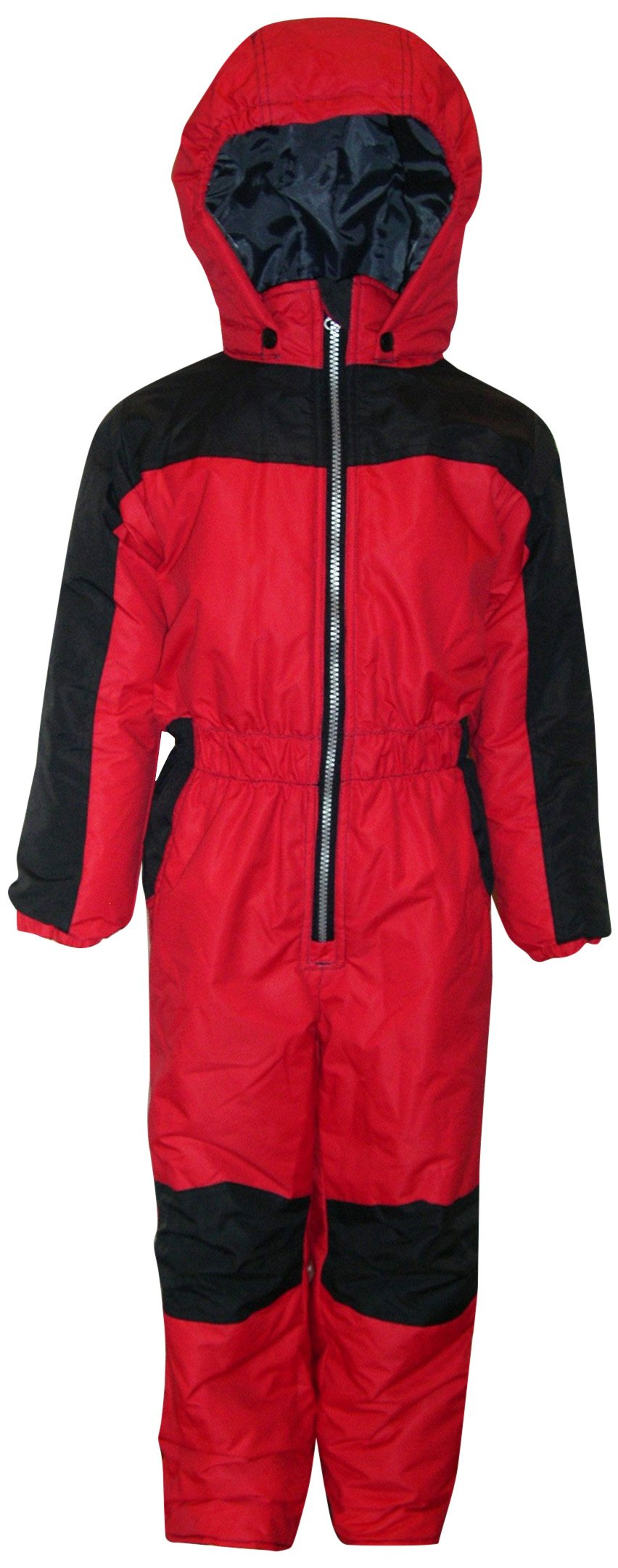 Pulse Little Boys and Toddler 1 Piece Snowsuit Coveralls (Medium, Red/Black)