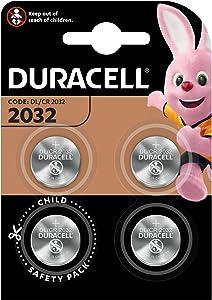 Pile bouton lithium Duracell spéciale 2032 3 V, pack de 4 (DL2032/CR2032), conçue pour une utilisation dans les porte-clés, balances et dispositifs portables et médicaux