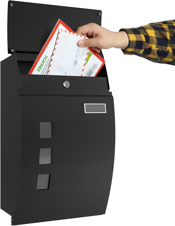 Bo/îte aux Lettres Murale avec Rouleau /à Journaux Fen/être Verrouillable et /Étanche Mail Box Acier Bross/é 2 Cl/é Plaque Signal/étique