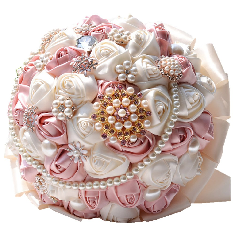 Amazon Rose Flower Wedding Bouquet Brooch Crystal Pearls Silk