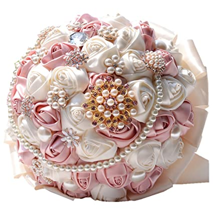 Amazon rose flower wedding bouquet brooch crystal pearls silk rose flower wedding bouquet brooch crystal pearls silk bridal flowers pink mightylinksfo