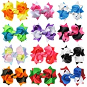 HipGirl 12pc 3  Holiday Spike Hair Bow Clip, Barrette.Grosgrain Ribbon Alligator Clip For Girl Baby Teen Kid Toddler Adult.For Pigtails,Ponytails.Assorted Beauty Accessories,Match Outfits,Dresses