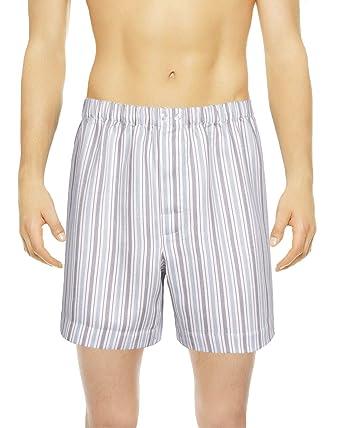 Armani International Vincenzi Sateen Linen Cotton Boxer Underwear Medium  Off White Blue Pinstriped 61456cd40