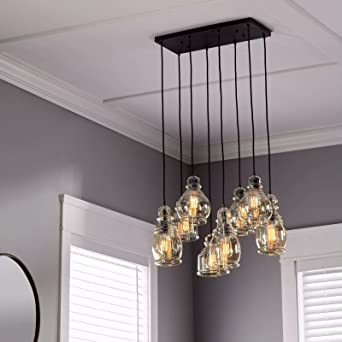Linear Chandelier Centerpiece For Dining Rooms And Kitchen Areas | 24u0026quot;  Long Light Fixture Provides