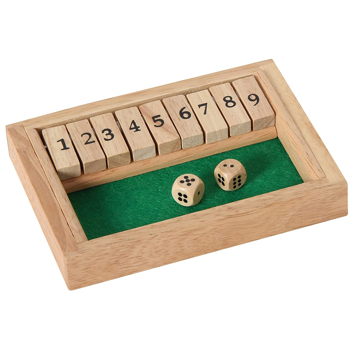 H Bartl 107990 flap game, Shut The Box, dice game, high quality made of beech wood, Made in Germany