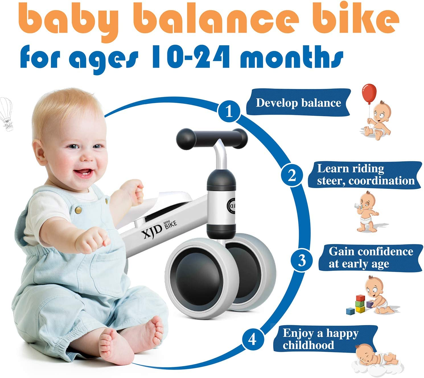 XJD Baby Balance Bikes Bicycle Baby Toys for 1 Year Old Boy Girl 10-24 Months Toddler Bike Infant No Pedal 4 Wheels First Birthday Gift Children Walker
