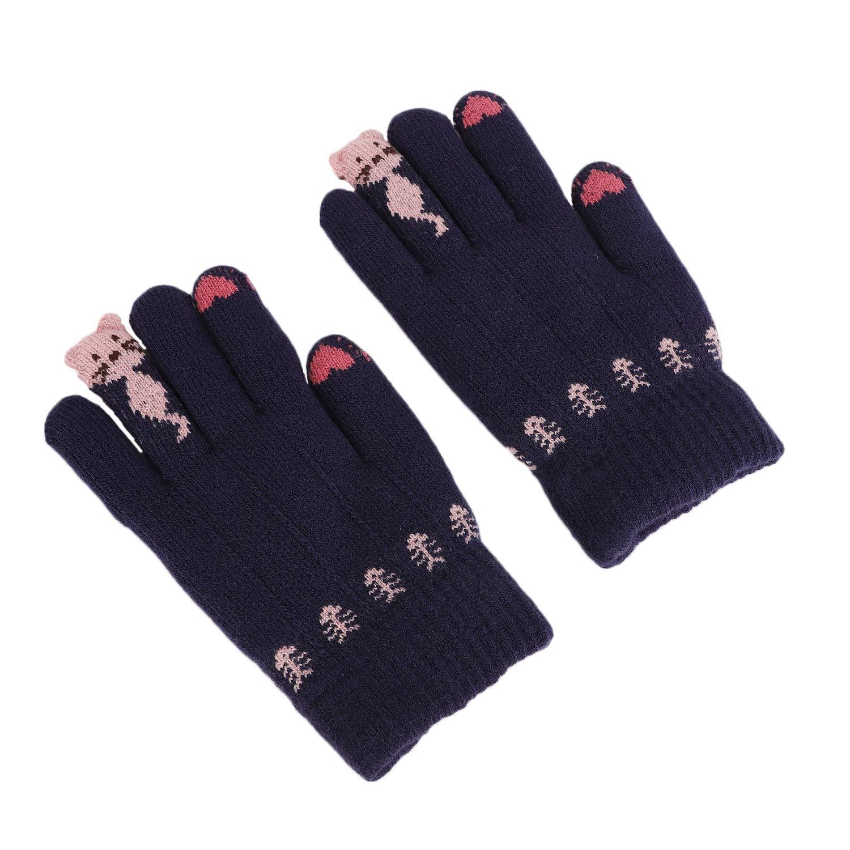 Winter Wool Knitted Gloves Full Finger Fleece Lined Hand Warmer Mittens for Women Girls