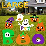 Pawliss Halloween Decorations Outdoor, Extra Large 8ct Boo Pumpkins Ghost Corrugate Yard Signs with Stake, Family Friendly Tr