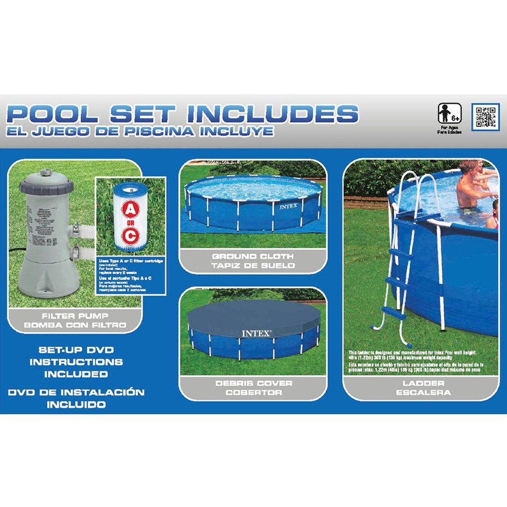Intex 15ft X 48in Metal Frame Pool Set with Filter Pump, Ladder, Ground Cloth & Pool Cover by Intex (Image #2)