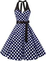 Dressystar 50er Rockabilly Kleid Vintage Neckholder Retro Punkte Swing Knilang Partykleider Ärmellos