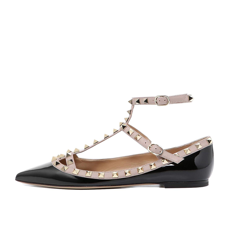 Lutalica Mode Féminine Bout Pointu Rivets Décontracté Confort Décontracté Rivets Strappy Ballerines Chaussures 37 EU Verni Noir 005285