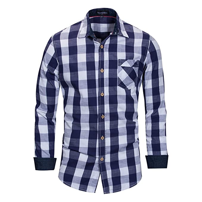Etecredpow Mens Autumn Washed Long Sleeve Pleated Button Front Denim Shirts