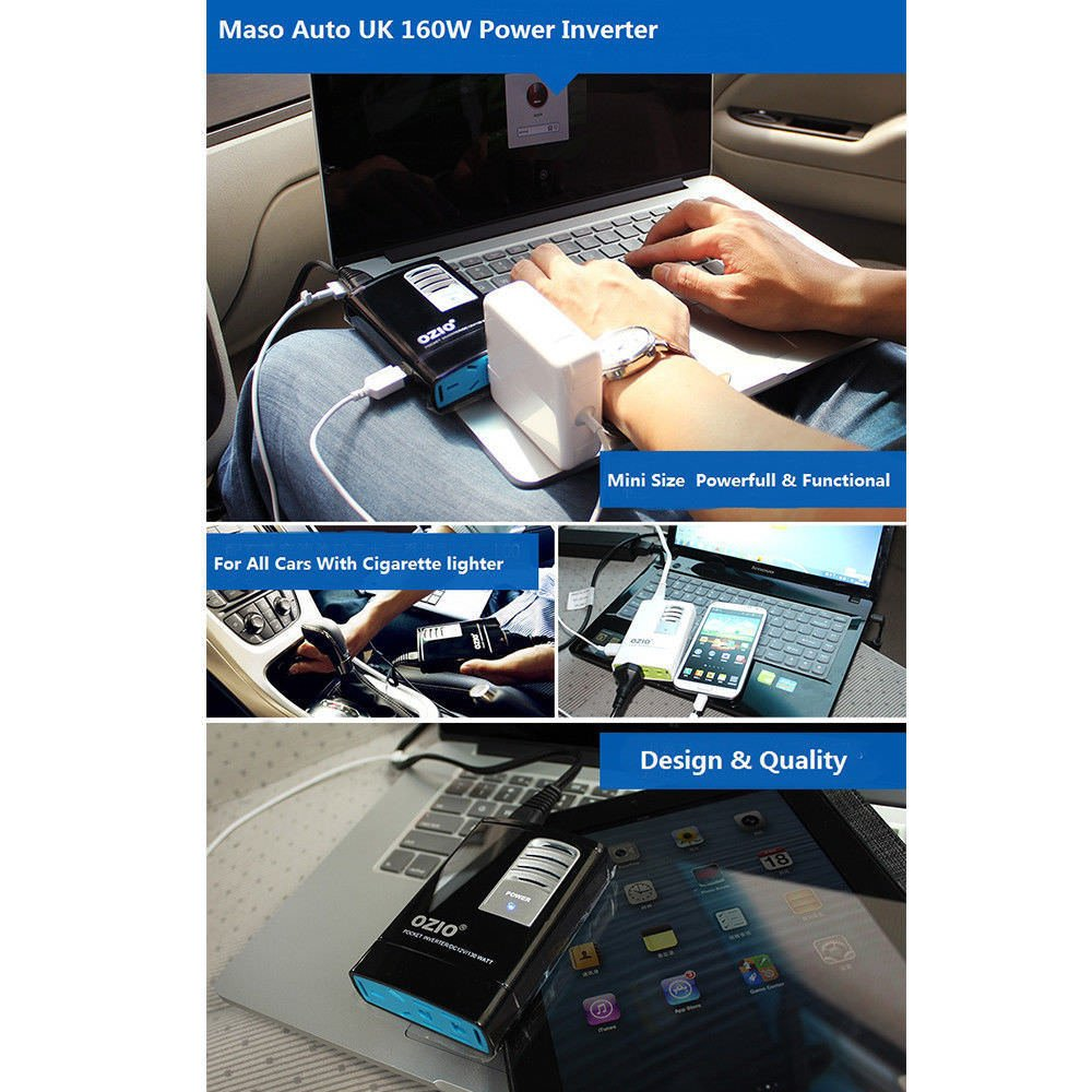 MASO 160W 20A Power Inverter DC 12 V to AC 220 V Car Voltage Converter Transformer with USB Car Charger Car Power Inverter A Universal Adapter