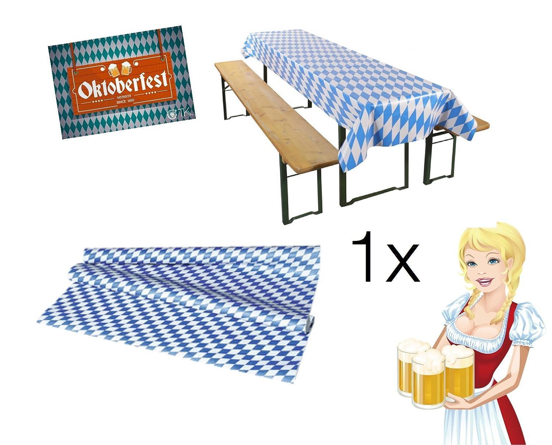 TK Gruppe Timo Klingler Oktoberfestdeko Bayrische Deko Dekoration Tischdecke 270 x 135 cm Decke Tischtuch blau weiß Wiesen Wiesn Deko Dekoration Oktoberfest Cannstatter Wasen + 1x DINA3 Planer