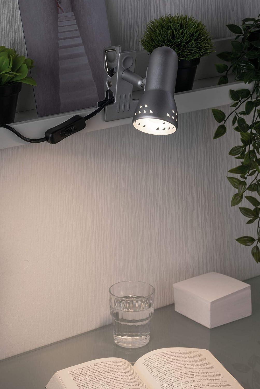 Paulmann 99825 Assistent Gryps Spot pince 1x40W Plastique. M/étal//Mati/ère E14 Acier bross/é 230V max