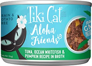 Tiki Cat Aloha Friends Grain-Free, Low-Carbohydrate Wet Food with Flaked Tuna for Adult Cats & Kittens, 5.5oz, 8 cans, Tuna, Whitefish & Pumpkin
