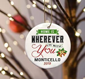 Christmas Tree Ornament Home is Wherever I'm With You Monticello Merry Christmas 2020 - Ornament 3 Inches White