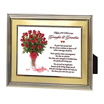 Grandma Grandpas Golden 50th Wedding Anniversary Gift For Grandparents With Sweet Poem