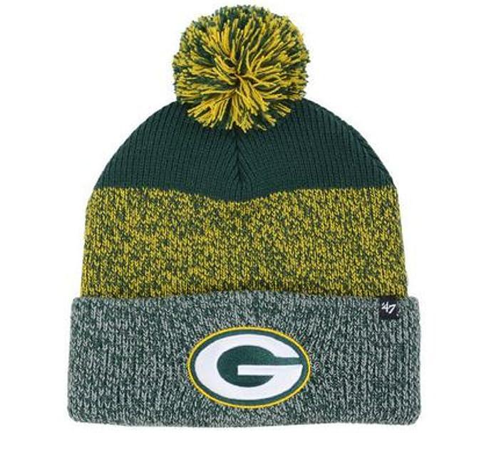 b591f873 Amazon.com : Green Bay Packers Knit Static Cuff Pom Beanie 47 Brand ...