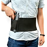 Agptek Adjustable Tactical Elastic Belly Band Waist Pistol Gun Holster 2 Magazine Pouches - Abdominal Band Pistol Holster (Black)