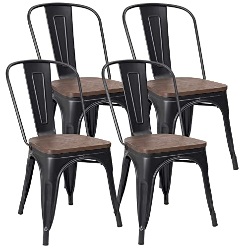 JUMMICO Metal Dining Chair Stackable Industrial Vintage Kitchen Chairs Indoor-Outdoor Bistro Cafe Side Chairs with Back and Wooden Seat Set of 4 Black