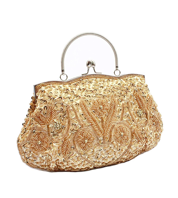MissFox Women's Vintage Flowers Beaded Handbags Evening Bag