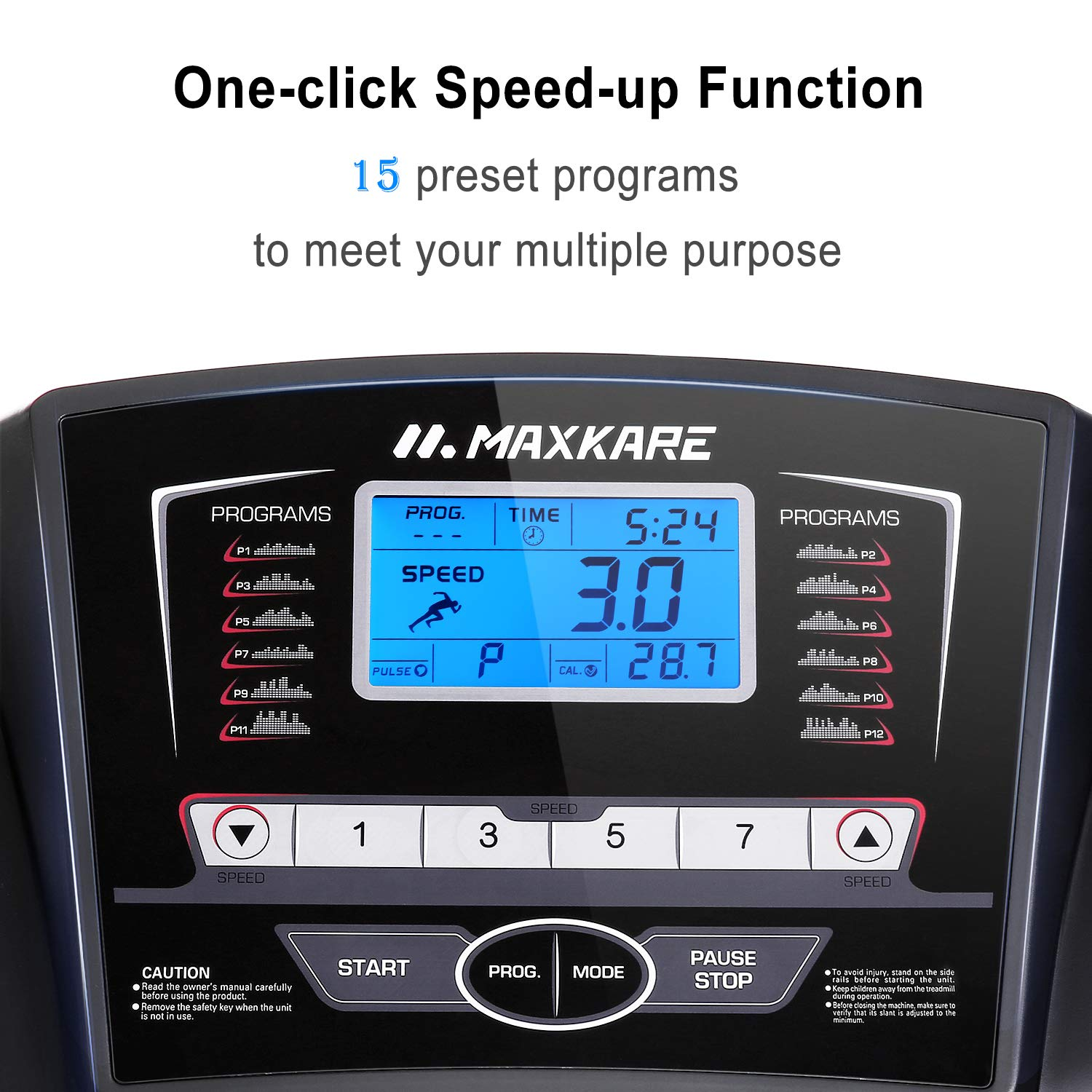 MaxKare Treadmill with 15 Pre-Set Programs,2.5HP Power,17'' Wide Tread Belt,8.5 MPH Max Speed,LCD Screen,Cup Holder & Wheels,Easy Assembly,Black by MaxKare (Image #2)
