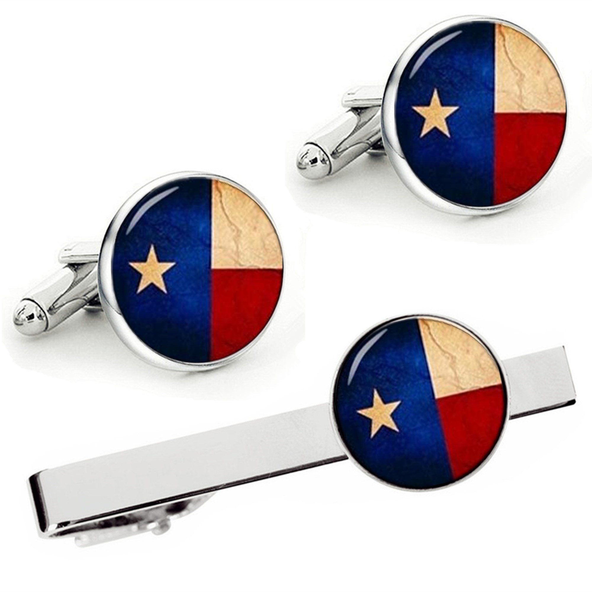 Kooer Vintage Flag of Texas Cufflinks Texas State Flag Custom Personalized Flag Cuff Links Wedding Gift (cufflinks & tie clip set)